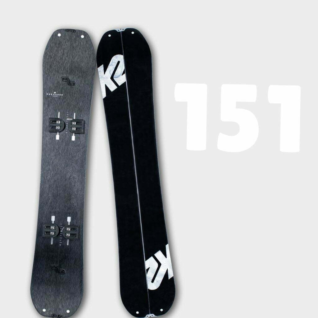 Illustrer l'ensemble de splitboard K2 Marauder 151 disponible en location chez Splitboard QC