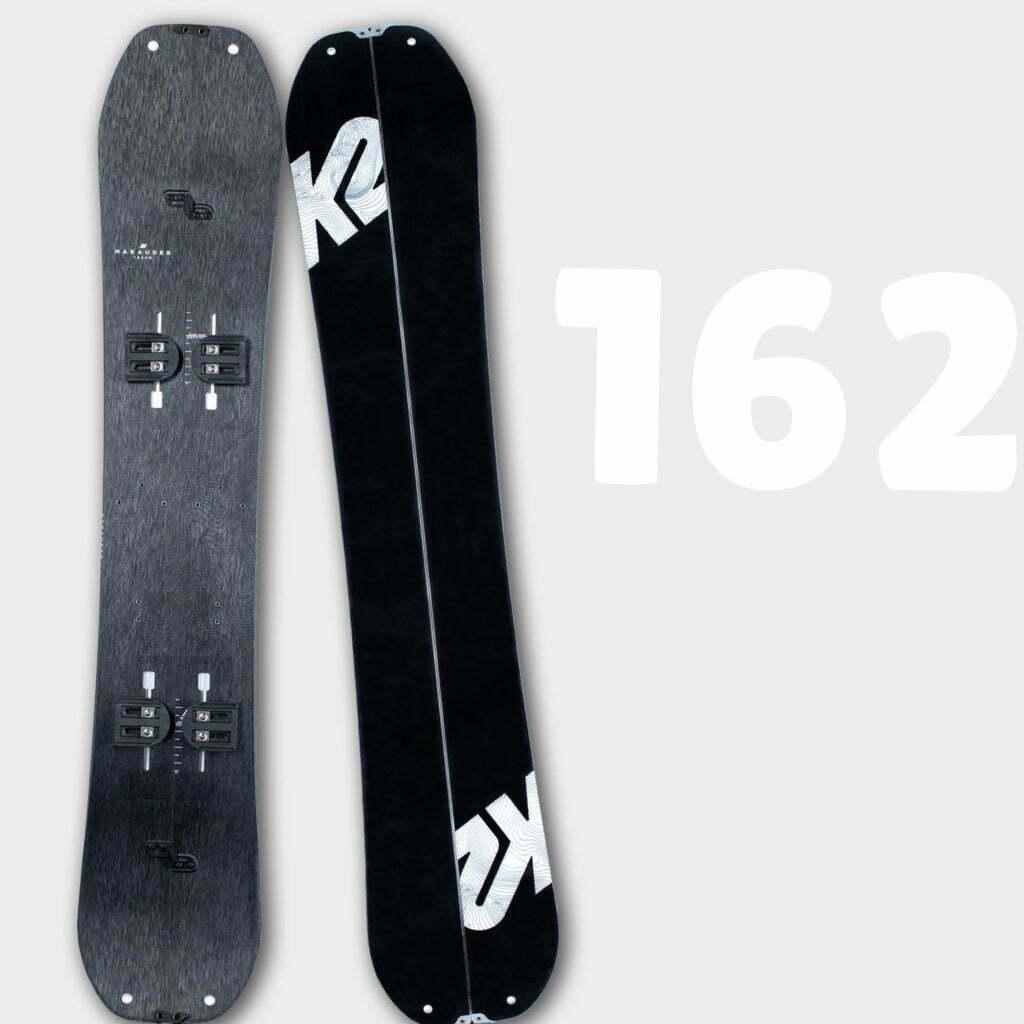 Illustrer l'ensemble de splitboard K2 Marauder 162 disponible en location chez Splitboard QC